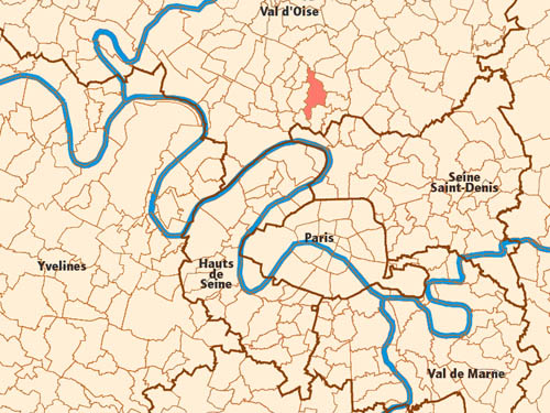 Map of the greater Paris area with the Montmorency domain highlighted in red